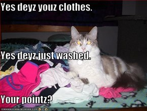 Yes deyz youz clothes. Yes deyz just washed. Your pointz?
