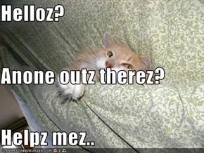Helloz? Anone outz therez? Helpz mez..