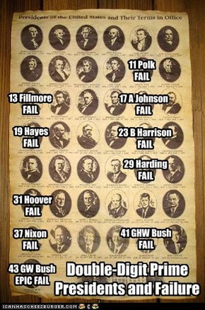 Double-Digit Prime  Presidents and Failure