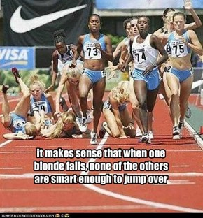 it makes sense that when one blonde falls, none of the others are smart enough to jump over