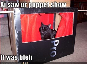 Ai saw ur puppet show  It was bleh