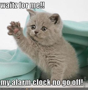 waitz for me!!  my alarm clock no go off!