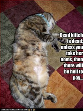 Dead kitteh is dead; unless you take her noms, then there will be hell to pay...