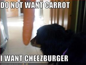 DO NOT WANT CARROT  I WANT CHEEZBURGER