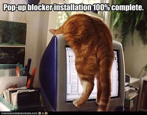 Pop-up blocker installation 100% complete.