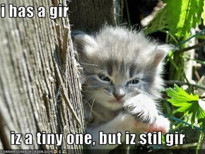 i has a gir  iz a tiny one, but iz stil gir