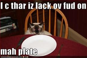 I c thar iz lack ov fud on   mah plate