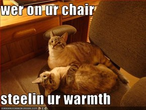 wer on ur chair   steelin ur warmth