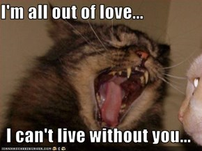 I'm all out of love...  I can't live without you...