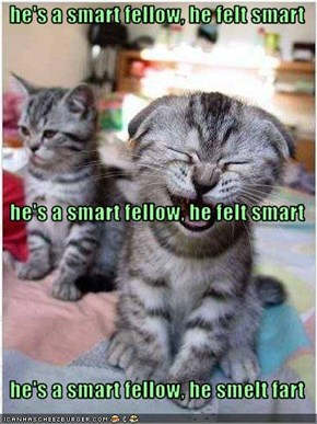 he's a smart fellow, he felt smart   he's a smart fellow, he felt smart   he's a smart fellow, he smelt fart