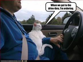 When we get to the drive-thru, I'm ordering.