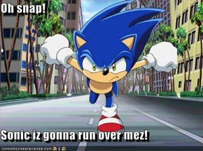 Oh snap!  Sonic iz gonna run over mez!