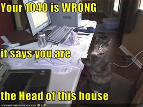 Your 1040 is WRONG it says you are the Head of this house