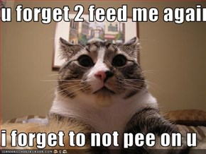 u forget 2 feed me again  i forget to not pee on u