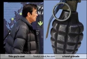 This guy's coat Totally Looks Like a hand grenade