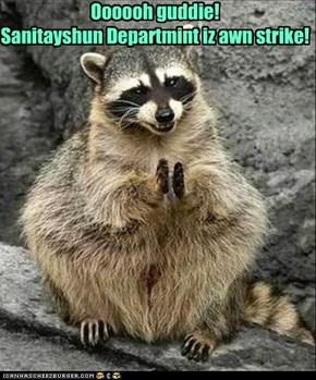 Oooooh guddie!  Sanitayshun Departmint iz awn strike!