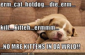 erm..cat..hotdog....die..erm... kill....kitteh...ermmm... ..NO MRE KITTEHS IN DA WRLD!!