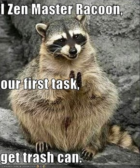 I Zen Master Racoon, our first task, get trash can.
