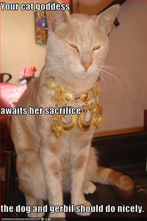 Your cat goddess awaits her sacrifice-- the dog and gerbil should do nicely.