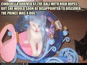 CINDERELLA ARRIVED AT THE BALL WITH HIGH HOPES, BUT SHE WOULD SOON BE DISAPPOINTED TO DISCOVER THE PRINCE WAS A DOG.