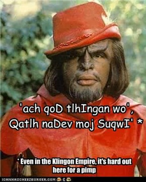 Even in the Klingon Empire, it's hard out here for a pimp