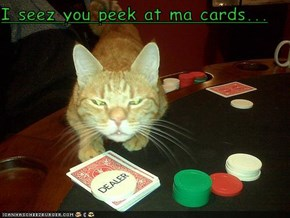 I seez you peek at ma cards...