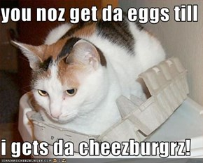 you noz get da eggs till  i gets da cheezburgrz!