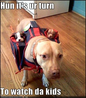 Hun it's ur turn   To watch da kids