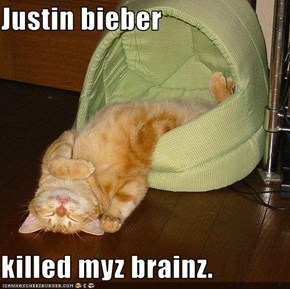 Justin bieber  killed myz brainz.