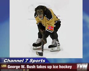 Channel 7 Sports - George W. Bush takes up ice hockey