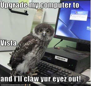Upgrade my computer to  Vista and I'll claw yur eyez out!