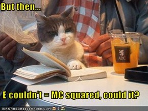 But then...  E couldn't = MC squared, could it?