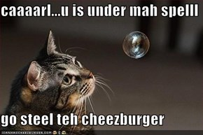 caaaarl...u is under mah spelll  go steel teh cheezburger