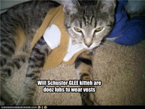 Will Schuster GLEE kitteh are doez lubs tu wear vests