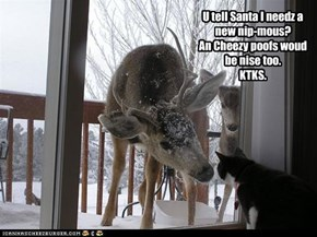 U tell Santa I needz a new nip-mous? An Cheezy poofs woud be nise too. KTKS.