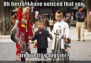 Oh herro! I have noticed that you   are pretty gangster?