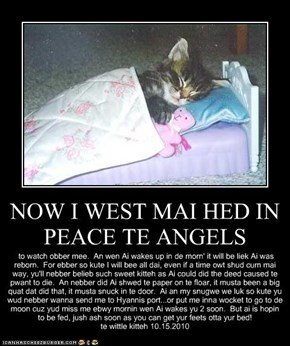 NOW I WEST MAI HED IN PEACE TE ANGELS