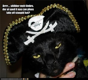 Arrrr.... shibber meh timbrs. der ai saed it nao can plees take off stoopid hat?