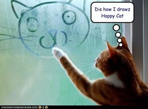 Dis how I drawz Happy Cat