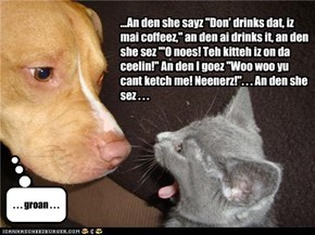 "...An den she sayz ""Don' drinks dat, iz mai coffeez,"" an den ai drinks it, an den she sez '""O noes! Teh kitteh iz on da ceelin!"" An den I goez ""Woo woo yu cant ketch me! Neenerz!"". . . An den she sez . . ."