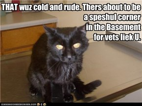 THAT wuz cold and rude. Thers about to be  a speshul corner  in the Basement  for vets liek U.