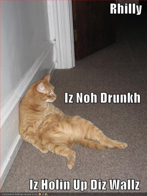 Rhilly Iz Noh Drunkh Iz Holin Up Diz Wallz