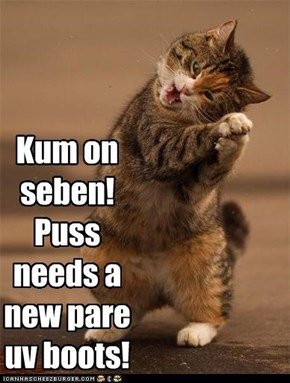Kum on seben!  Puss needs a new pare uv boots!