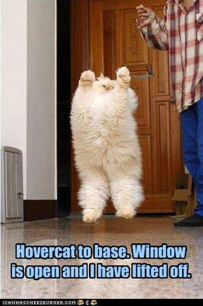 Hovercat to base. Window is open and I have lifted off.