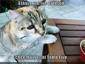 Eskuze me, we ordered  cheezburger at Table Five