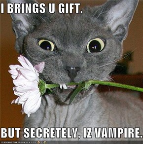 I BRINGS U GIFT.  BUT SECRETELY, IZ VAMPIRE.