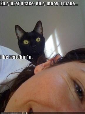 Ebry bref u take, ebry moov u make... I be watchin' u.