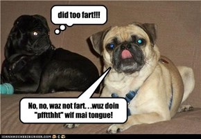 "No, no, waz not fart. . .wuz doin ""pfftthht"" wif mai tongue!"