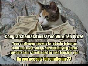 Congratchamalations! Yoo Winz Teh Prize!