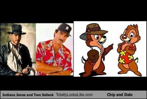 Indiana Jones and Tom Selleck Totally Looks Like Chip and Dale